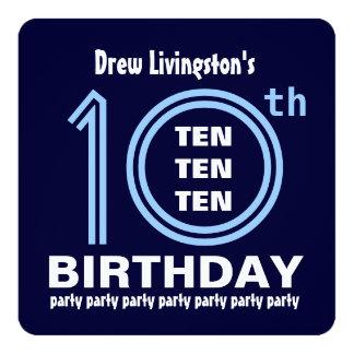 10mo Tonalidades modernas de la fiesta de Invitación 13,3 Cm X 13,3cm