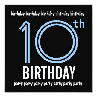 10mo W689 azul de la fiesta de cumpleaños y negro Invitación 13,3 Cm X 13,3cm