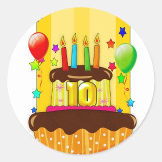 10mos pegatinas de la fiesta de cumpleaños - 10mo pegatina redonda