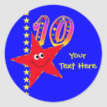 10mos pegatinas del cumpleaños de la estrella etiqueta redonda