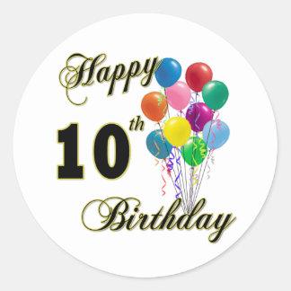 10mos regalos de cumpleaños y ropa felices del pegatina redonda
