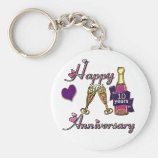 10th. Anniversary Basic Round Button Keychain