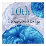 10th Anniversary Blue White Roses Linen 5.25x5.25 Square Paper Invitation Card