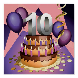 10th Anniversary Cake Poster