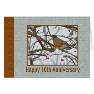 10th Anniversary Card with Robin in the Snow