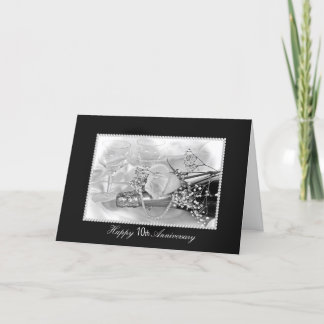 10th Anniversary champagne and roses Card
