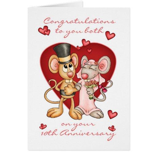 10th anniversary congratulations -cute mice annive card