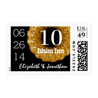 10th Anniversary Elegant GOLD Roses Wreath V01B Stamp