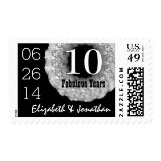 10th Anniversary Elegant SILVER Roses Wreath V01B1 Postage Stamp