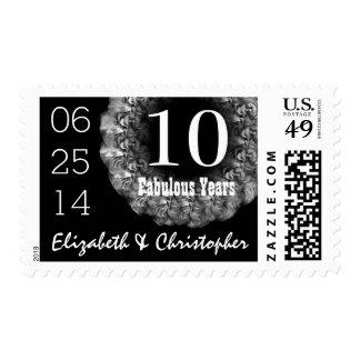 10th Anniversary Elegant SILVER Roses Wreath V02B Stamp