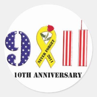 10th Anniversary for 9/11 Classic Round Sticker