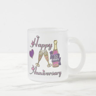 10th. Anniversary Frosted Glass Coffee Mug