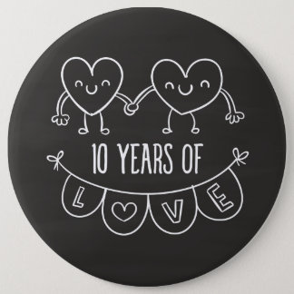 10th Anniversary Gift Chalk Hearts Button