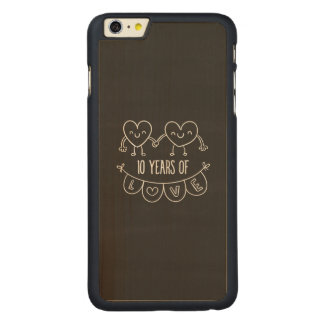 10th Anniversary Gift Chalk Hearts Carved Maple iPhone 6 Plus Case