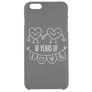 10th Anniversary Gift Chalk Hearts Clear iPhone 6 Plus Case