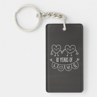 10th Anniversary Gift Chalk Hearts Double-Sided Rectangular Acrylic Keychain