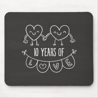 10th Anniversary Gift Chalk Hearts Mouse Pad