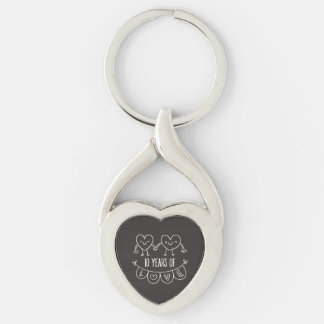 10th Anniversary Gift Chalk Hearts Silver-Colored Heart-Shaped Metal Keychain