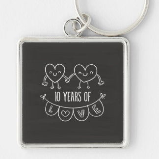 10th Anniversary Gift Chalk Hearts Silver-Colored Square Keychain