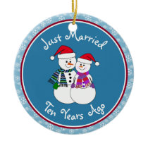 10th Anniversary Gift Fun Snow Couple Christmas Ceramic Ornament