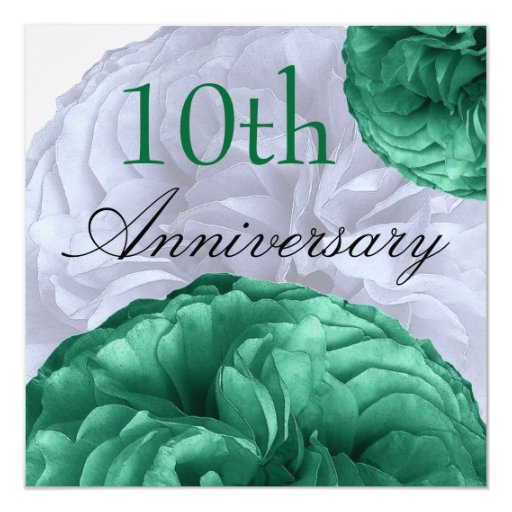 10th Anniversary Green and  White Roses Linen 5.25x5.25 Square Paper Invitation Card