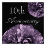 """10th Anniversary Invitation DEEP PURPLE Roses 5.25"""" Square Invitation Card"""