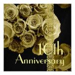 """10th Anniversary Invitation - GOLD Roses 5.25"""" Square Invitation Card"""