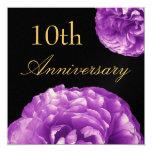 """10th Anniversary Invitation - PURPLE Roses 5.25"""" Square Invitation Card"""