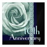 "10th Anniversary Invitation TURQUOISE Rose 5.25"" Square Invitation Card"