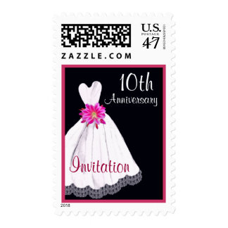 10th Anniversary Invitation with Wedding Gown Postage