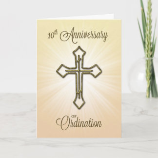 10th Anniversary of Ordination, Gold Cross Card