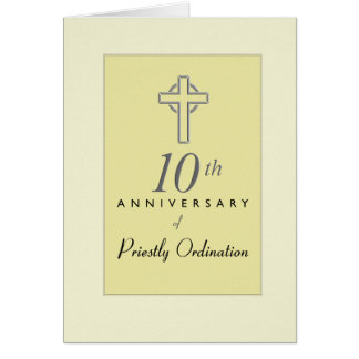 10th Anniversary of Priest with Embossed Cross, Re Card