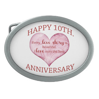 10th. Anniversary Oval Belt Buckle