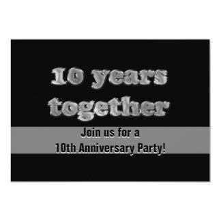 10th Anniversary Party 10 Years Together 5x7 Paper Invitation Card