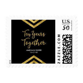 10th Anniversary Party Faux Gold Chevron Postage