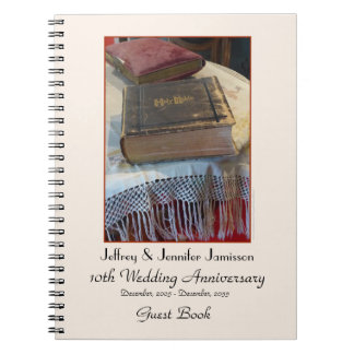 10th Anniversary Party Guest Book, Vintage Bible Notebook