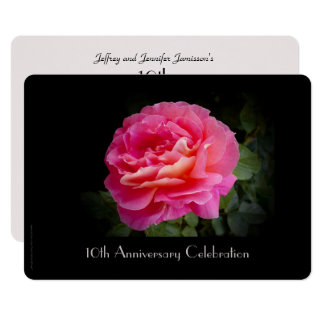 10th Anniversary Party Invitation Single Pink Rose