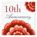 10th Anniversary Red Flowers Premium Metallic 5.25x5.25 Square Paper Invitation Card