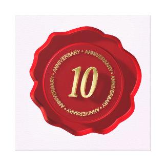 10th anniversary red wax seal canvas print