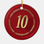 10th anniversary red wax seal christmas tree ornament