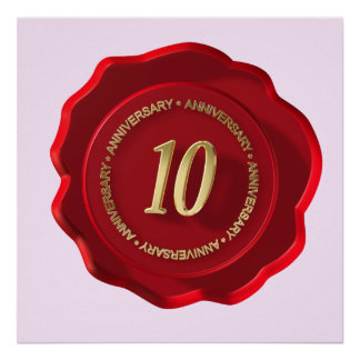 10th anniversary red wax seal poster