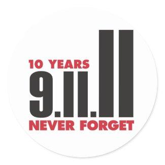 10th Anniversary September 11th Sticker sticker