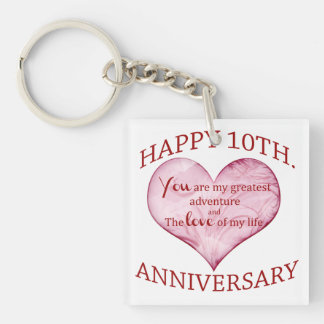 10th. Anniversary Single-Sided Square Acrylic Keychain