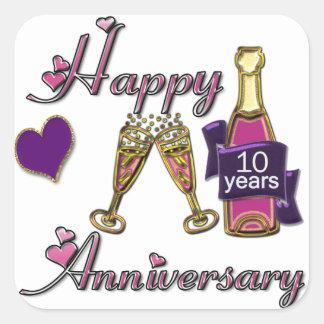 10th. Anniversary Square Sticker