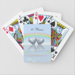 "10th Anniversary Tin Hearts Bicycle Playing Cards<br><div class=""desc"">Two tin or aluminum hearts floating on the water under a rainbow. Customizable text says &quot;10 Years&quot;.</div>"