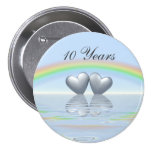 10th Anniversary Tin Hearts Button