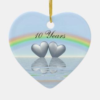 10th Anniversary Tin Hearts Ceramic Ornament