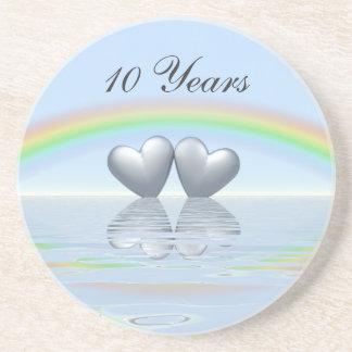 10th Anniversary Tin Hearts Coasters