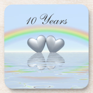 10th Anniversary Tin Hearts Beverage Coaster