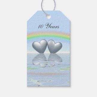 10th Anniversary Tin Hearts Gift Tags
